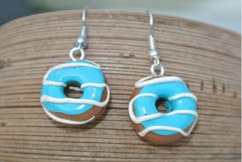 Waikiki Earrings Donuts Blue